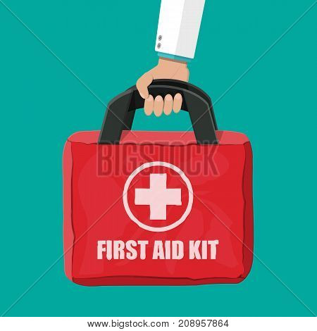 First aid kit in hand of doctor. Cloth bag for medicine. Healthcare, hospital and medical diagnostics. Urgency and emergency services. Vector illustration in flat style
