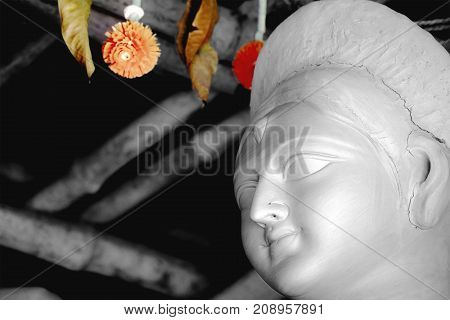 Durga Idol making process in progress in Kolkata.