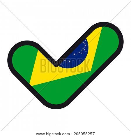 Flag of Brazil in the shape of check mark, vector sign approval, symbol of elections, voting.