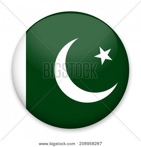 Flag of Pakistan in the form of a round button with a light glare and a shadow. The symbol of Independence Day, a souvenir, a button for switching the language on the site, an icon.