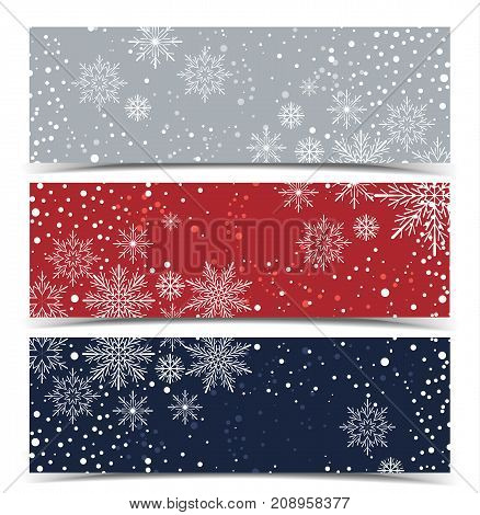 Vector Christmas backgrounds, Merry Christmas banners with snow
