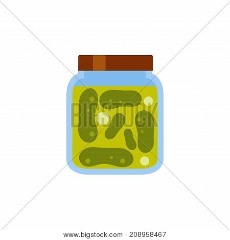 Vector icon of pickled cucumbers jar. Preserves, homemade food, starter. Canned food concept. Can be used for topics like food, provisions, vegetables
