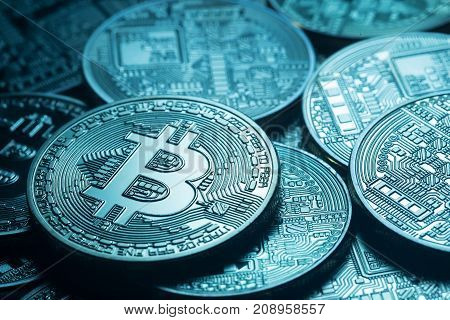 Business background from virtual world currency bitcoin. Toning. The concept of virtual money and crypto currency.