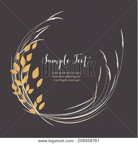 Vector illustration of decoration branches with leaves and grass, autumn nature background with place for text