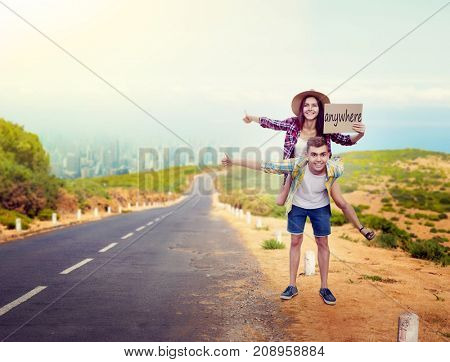 Hitchhiking couple, hitchhikers travels anywhere