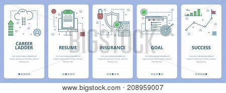Vector set of vertical banners with Career ladder, Resume, Insurance, Goal, Success concept web elements. Modern thin line flat symbols, icons for website menu, print.