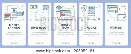 Vector set of vertical banners with Mobile banking, Investment, Money flow, Invoice and Payment concept web elements. Modern thin line flat symbols, icons for website menu, print.