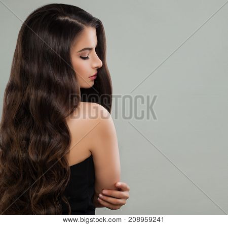 Portrait of Nice Brunette Lady Fashion Model with Permed Hair on Banner Background