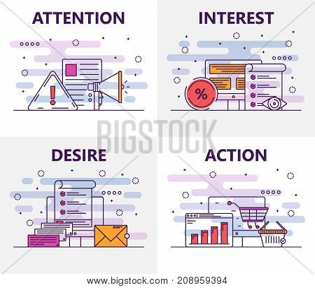 Vector set of banners with Attention, Interest, Desire and Action concept web templates. Modern thin line flat design symbols, icons for web, printing.