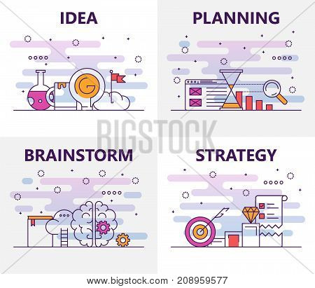 Vector set of banners with Idea, Planning, Brainstorm, Strategy concept web templates. Modern thin line flat symbols, icons for web, print.
