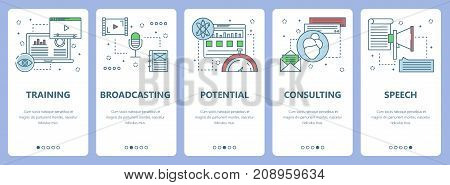 Vector set of vertical banners with Training, Broadcasting, Potential, Consulting, Speech concept web elements. Modern thin line flat symbols, icons for website menu, print.