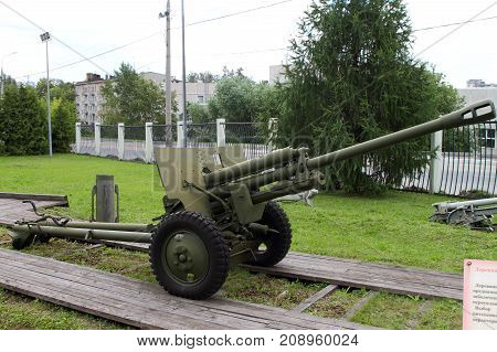 Moscow Russia - July 19 2017: 76-mm Division gun ZIS-3 sample of 1942 (USSR) on grounds of weaponry exhibition in Victory Park at Poklonnaya Hill.