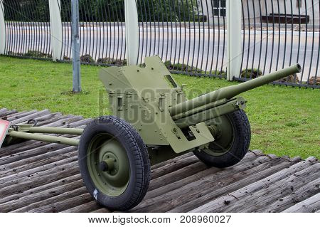 Moscow Russia - July 19 2017: 45-mm anti-tank gun M-42 sample of 1942 (USSR) on grounds of weaponry exhibition in Victory Park at Poklonnaya Hill.