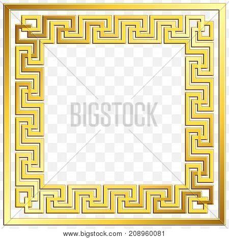 Square frame with traditional vintage Golden Greek ornament, Meander pattern on transparent background. Gold pattern for decorative tiles