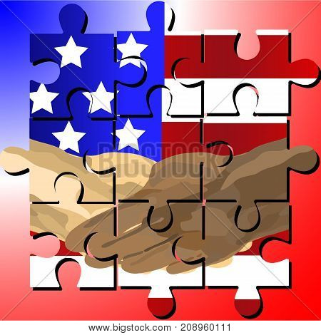 Vector designed jigsaw shows black and white human shake-hand with United states of America national flag background on Martin Luther King Jr Day (MLK day). It means friendship and stop racism.
