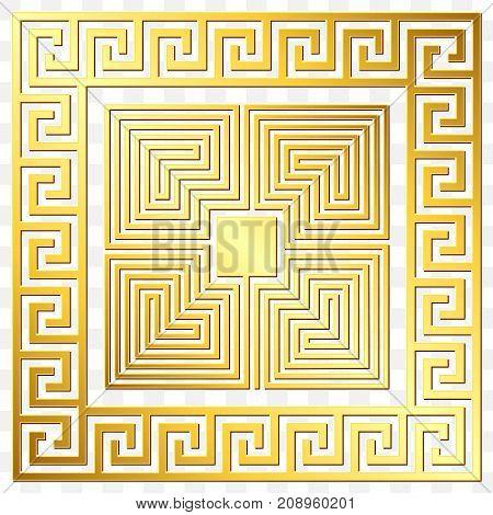 Traditional vintage Golden square Greek ornament, Meander and floral pattern on transparent background. Gold pattern for decorative tiles