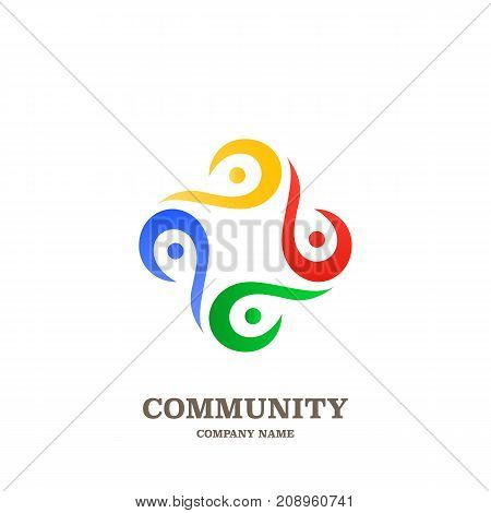 Global Community, Teamwork Or Social Network People Icon, Logo