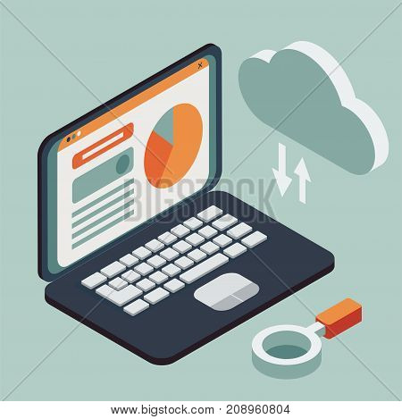 Cloud computing, operating system, or data processing flat isometric concept illustration
