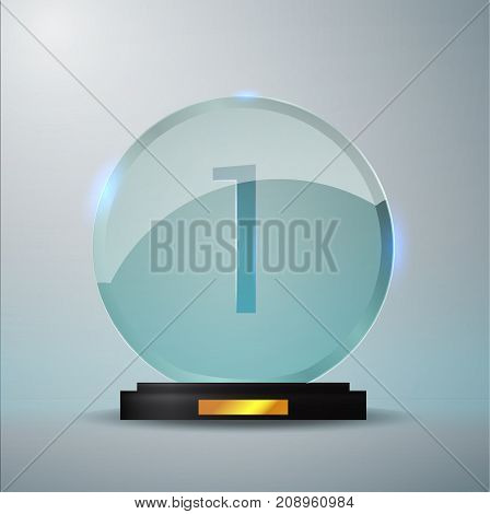 Glass Trophy Award. First Place Prize Plaque. Glass Trophy Mockup Stand On Clear Base. Realistic Vec