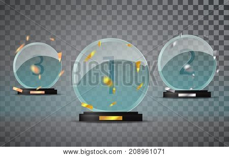 Glass Trophy Set Isolated On A Transparent Background With The Falling Confetti. First, Second And T
