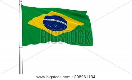 Flag of Brazil on a flagpole fluttering in the wind on a white background 3d rendering