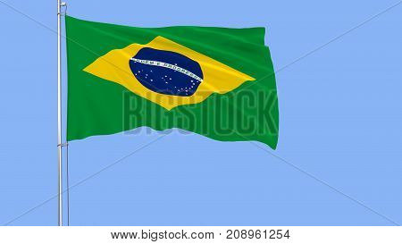 Flag of Brazil on a flagpole fluttering in the wind on blue background 3d rendering