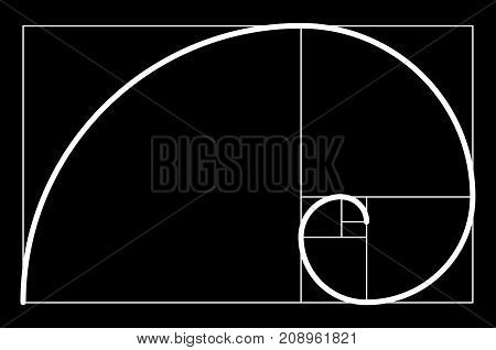 Golden Ratio.template For The Construction Of A Helix. Constructing A Composition, An Ideal Proporti
