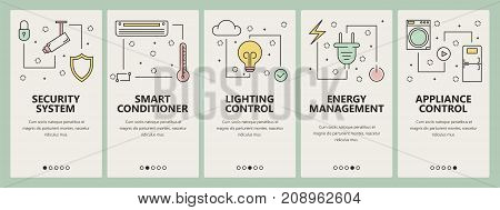 Vector set of smart home concept vertical banners. Security system, Smart conditioner, Lighting control, Energy management, Appliance control web templates. Modern thin line flat icons for web, print.