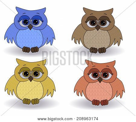 A Set Of Four Sad Multicolored Owls With Surprised Eyes And Spread Out Wings, With A Pattern On The