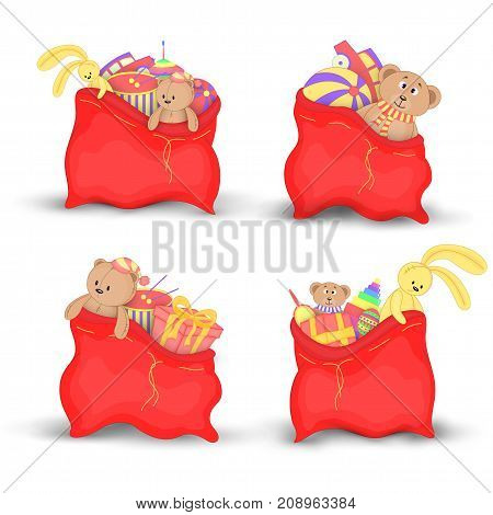 Set Christmas red bags of gifts and toys. Cute Christmas bags Santa Claus. Isolated on a white background. Soft toy Teddy bear and yellow rabbit.
