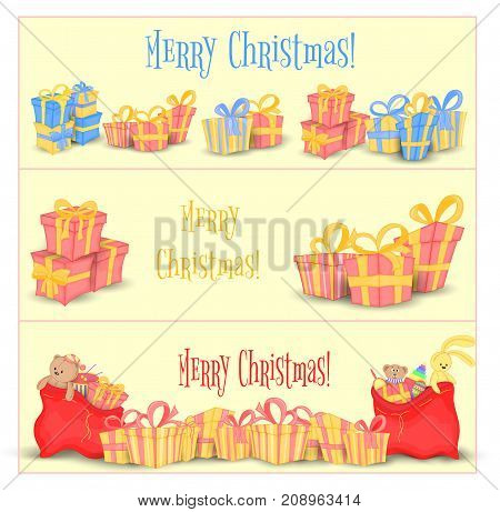 Set of banners for website and cards with Christmas gifts and bags of Santa Claus. Cute boxes for birthday and Valentine's day. Templates for text and greetings. Isolated on a white background.