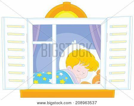 Vector illustration of a little boy sleeping