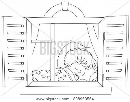 Black and white vector illustration of a Little boy sleeping