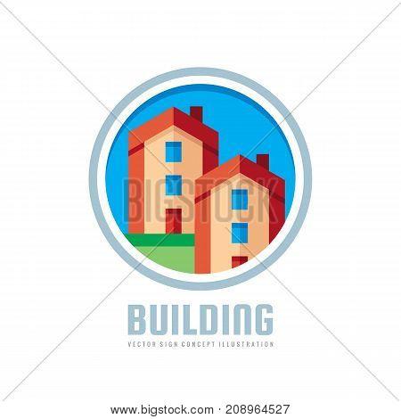 Building - vector logo template concept illustration. Real estate creative sign. Architecture cottage symbol. Design element.