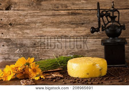 Food composition of gourmet cheese. Quality sort of Caciotta with coffee-grinder and flower nearby, rustik sunny mood concept on wooden background with free space. Dairy local industry