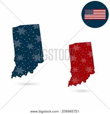 Map of the U.S. state of Indiana. Merry Christmas