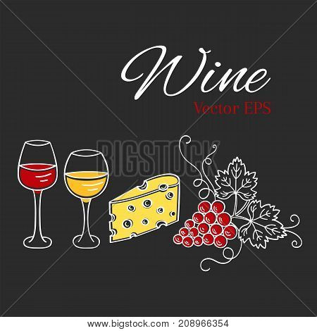 Red wine glass and white wine glass, grapes, cheese vector illustrations isolated on chalkboard, hand drawn doodle sketch. Wine background.