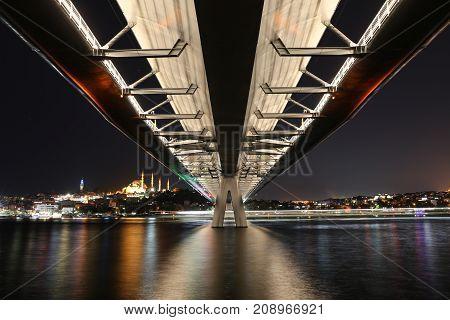 Golden Horn Metro Bridge in Istanbul City Turkey