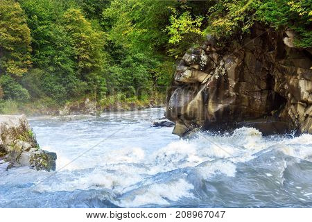The mountain river runs among the rocks covered with fir forests