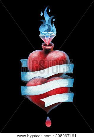 Two watercolor hearts wrapped in blue ribbon and flaming gem. Hand painted art for old school tattoo design isolated on black background