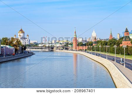 moscow cityscape view of Moscow Kremlin and embankment of Moscow river in Moscow Russia