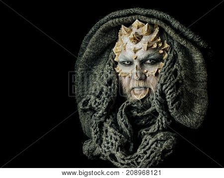 Demon Head With Grey Collar Isolated On Black