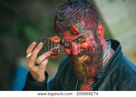 Halloween Demon Head With Goat Horns