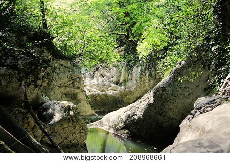 canyon Devil's Gate. The Hosta River. Krasnodar region. An ancient Kolkhida forest with a pre-glacial period flora grows here.