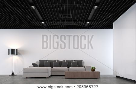 Modern loft living room with black steel ceiling 3d rendering image.There is a polished concrete floorwhite paint wallblack steel lattice ceilingFurnished with light gray fabric furniture