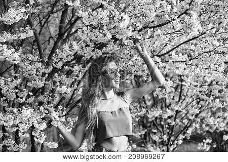 Fashionable Girl In Blossom