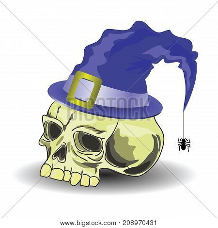 Old Skull with Blue Retro Hat Isolated on White Background