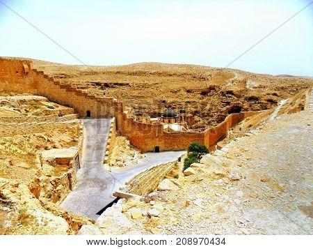 Traveling in Israel Middle East visiting city of Bethlehem Judean desert