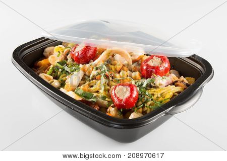 Lunch Boxes With Food On A White Background