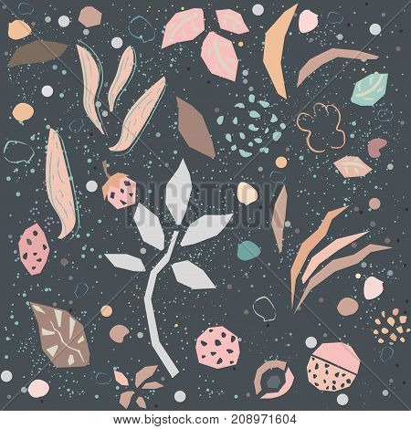 Cute Seamless Pattern with hand drawn plants in pastel pink and dark night background